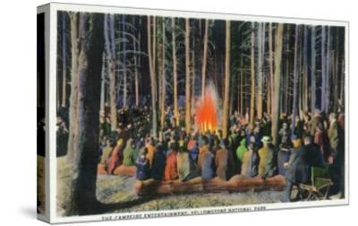 Yellowstone Nat'l Park, Wyoming - Campfire Entertainment Scene-Lantern Press-Stretched Canvas Print