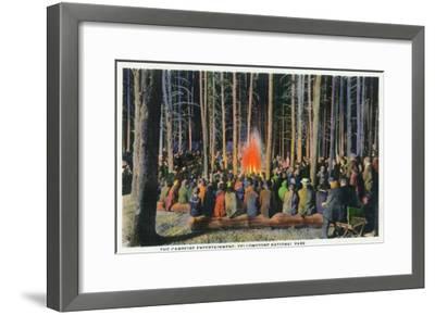 Yellowstone Nat'l Park, Wyoming - Campfire Entertainment Scene-Lantern Press-Framed Art Print