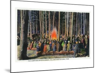 Yellowstone Nat'l Park, Wyoming - Campfire Entertainment Scene-Lantern Press-Mounted Art Print