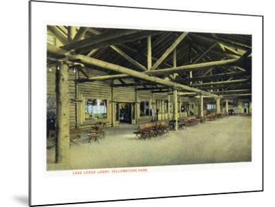 Yellowstone Nat'l Park, Wyoming - Lake Lodge Lobby Interior-Lantern Press-Mounted Art Print