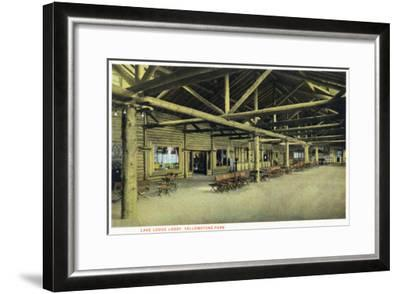 Yellowstone Nat'l Park, Wyoming - Lake Lodge Lobby Interior-Lantern Press-Framed Art Print