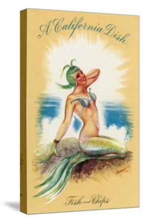 California - A Californian Dish, Fish and Chips; A Pretty Mermaid-Lantern Press-Stretched Canvas Print