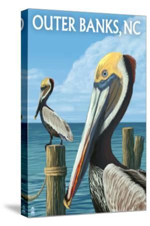Outer Banks, North Carolina - Pelicans-Lantern Press-Stretched Canvas Print