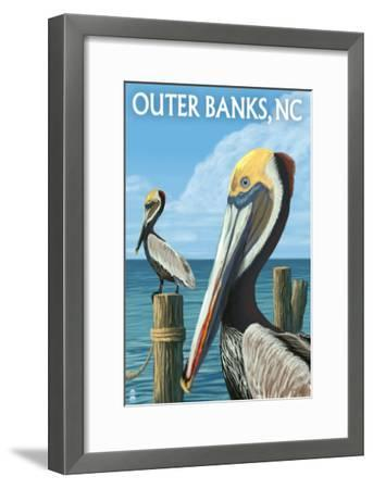 Outer Banks, North Carolina - Pelicans-Lantern Press-Framed Art Print