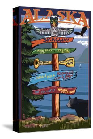 Skagway, Alaska - Destination Sign-Lantern Press-Stretched Canvas Print