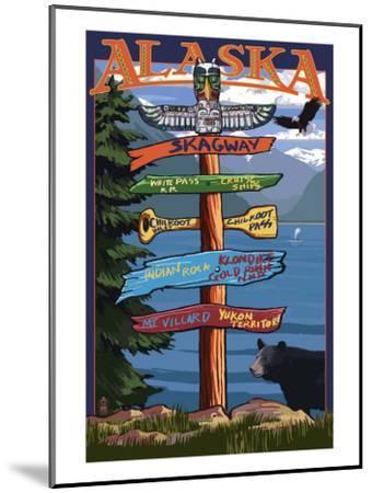 Skagway, Alaska - Destination Sign-Lantern Press-Mounted Art Print