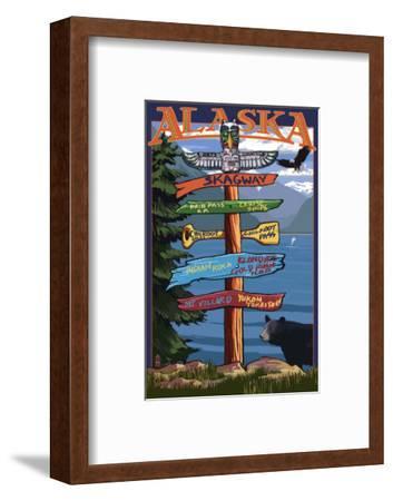 Skagway, Alaska - Destination Sign-Lantern Press-Framed Art Print