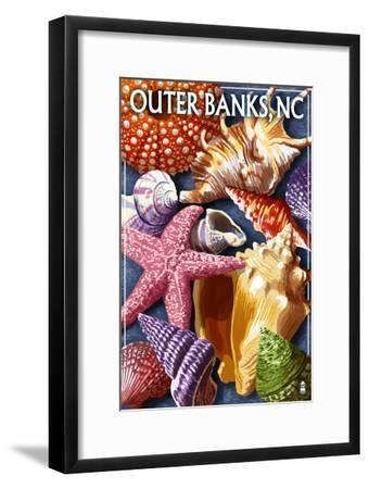 Outer Banks, North Carolina - Shells-Lantern Press-Framed Art Print