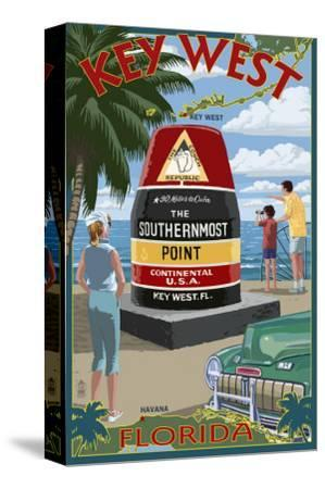 Key West, Florida - Southernmost Point-Lantern Press-Stretched Canvas Print