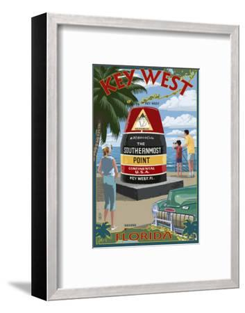 Key West, Florida - Southernmost Point-Lantern Press-Framed Art Print