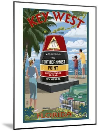 Key West, Florida - Southernmost Point-Lantern Press-Mounted Art Print