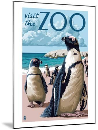 Black Footed Penguins - Visit the Zoo-Lantern Press-Mounted Art Print