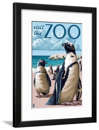 Black Footed Penguins - Visit the Zoo-Lantern Press-Framed Art Print