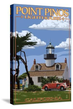 Point Pinos Lighthouse - Monterey, California-Lantern Press-Stretched Canvas Print
