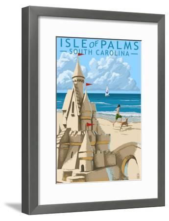 Isle of Palms, South Carolina - Sandcastle-Lantern Press-Framed Art Print