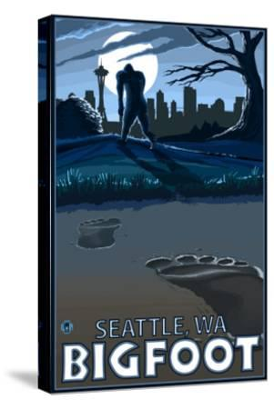 Seattle, Washington Bigfoot-Lantern Press-Stretched Canvas Print