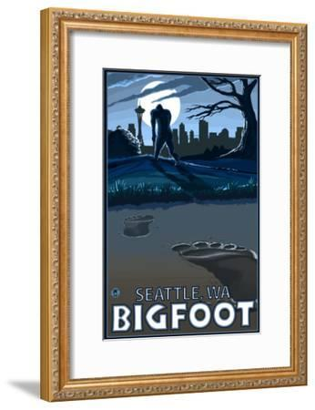 Seattle, Washington Bigfoot-Lantern Press-Framed Art Print