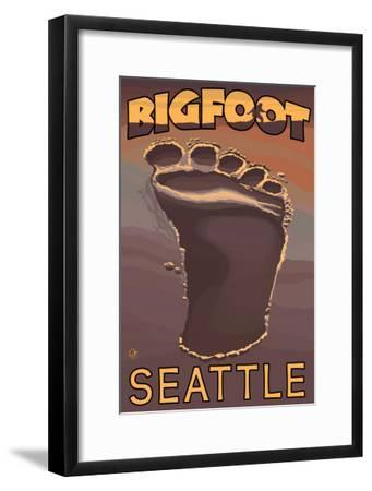 Seattle, Washington Bigfoot Footprint-Lantern Press-Framed Art Print