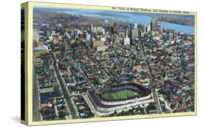 Detroit, Michigan - Aerial View of Briggs Stadium and Skyline-Lantern Press-Stretched Canvas Print