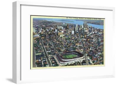 Detroit, Michigan - Aerial View of Briggs Stadium and Skyline-Lantern Press-Framed Art Print