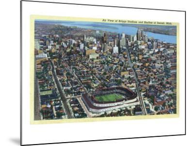 Detroit, Michigan - Aerial View of Briggs Stadium and Skyline-Lantern Press-Mounted Art Print
