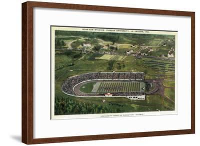 La Fayette, Indiana - Purdue University; Aerial of Ross-Ade Stadium-Lantern Press-Framed Art Print