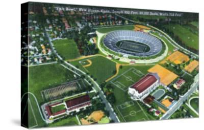 New Haven, Connecticut - Aerial View of the Yale Bowl-Lantern Press-Stretched Canvas Print