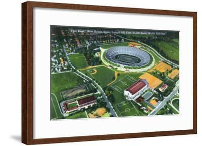 New Haven, Connecticut - Aerial View of the Yale Bowl-Lantern Press-Framed Art Print