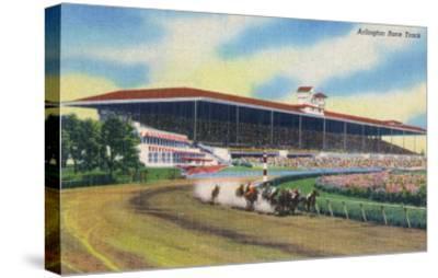 Arlington Heights, Illinois - Horse Race at Arlington Race Track-Lantern Press-Stretched Canvas Print