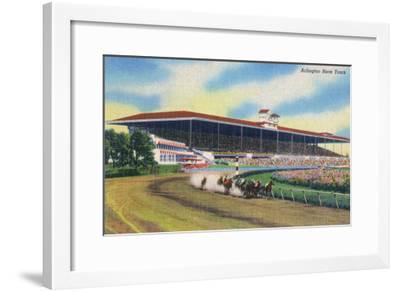 Arlington Heights, Illinois - Horse Race at Arlington Race Track-Lantern Press-Framed Art Print