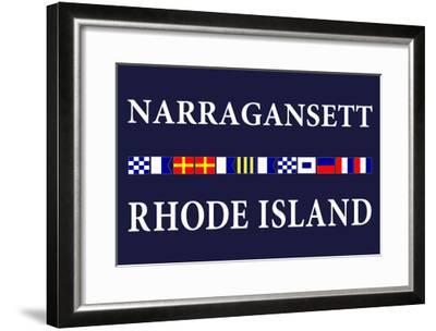 Narragansett, Rhode Island - Nautical Flags-Lantern Press-Framed Art Print