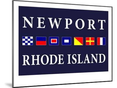 Newport, Rhode Island - Nautical Flags-Lantern Press-Mounted Art Print