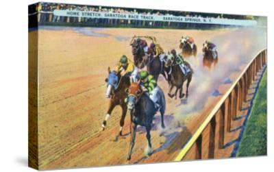 Saratoga Springs, New York - Home Stretch on the Track-Lantern Press-Stretched Canvas Print