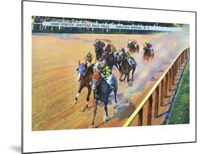 Saratoga Springs, New York - Home Stretch on the Track-Lantern Press-Mounted Art Print