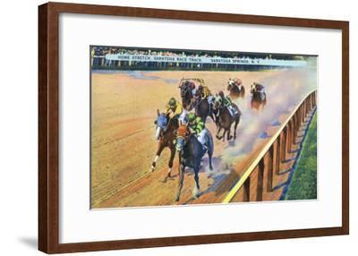 Saratoga Springs, New York - Home Stretch on the Track-Lantern Press-Framed Art Print