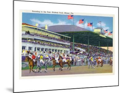 Miami, Florida - Hialeah Park; Parading to the Post Scene-Lantern Press-Mounted Art Print