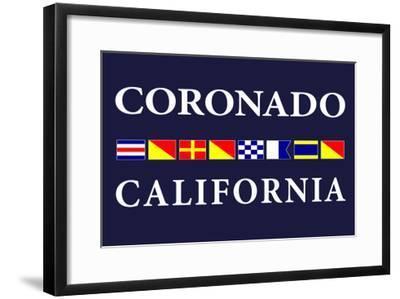 Coronado, California - Nautical Flags-Lantern Press-Framed Art Print