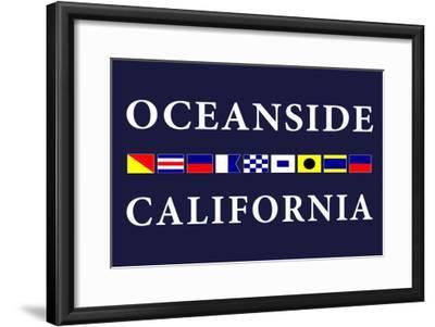 Oceanside, California - Nautical Flags-Lantern Press-Framed Art Print