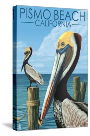 Pismo Beach, California - Pelicans-Lantern Press-Stretched Canvas Print