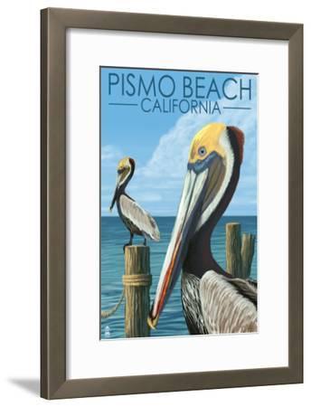 Pismo Beach, California - Pelicans-Lantern Press-Framed Art Print