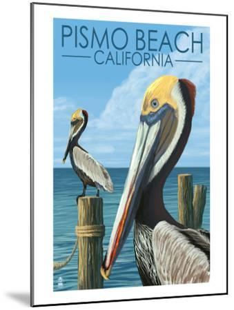 Pismo Beach, California - Pelicans-Lantern Press-Mounted Art Print