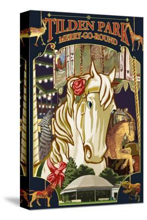 Tilden Park Merry Go Round - California-Lantern Press-Stretched Canvas Print