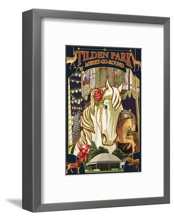 Tilden Park Merry Go Round - California-Lantern Press-Framed Art Print