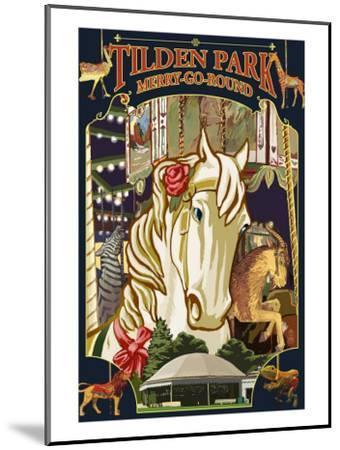 Tilden Park Merry Go Round - California-Lantern Press-Mounted Art Print