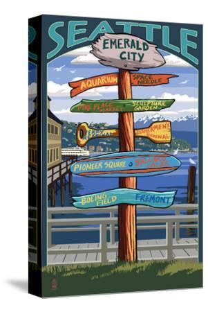 Seattle, Washington - Destination Signs-Lantern Press-Stretched Canvas Print
