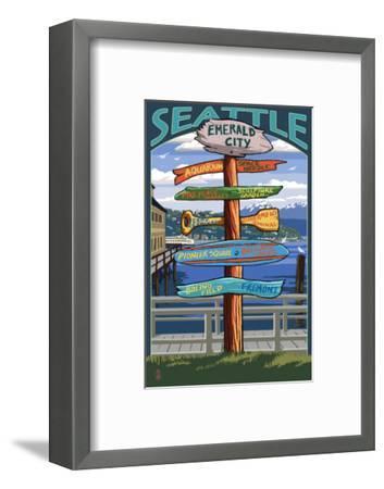 Seattle, Washington - Destination Signs-Lantern Press-Framed Art Print