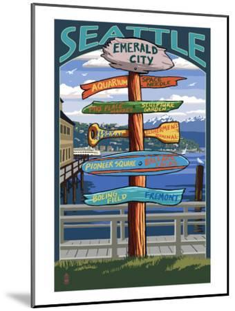 Seattle, Washington - Destination Signs-Lantern Press-Mounted Art Print