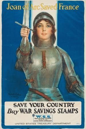 """""""Joan of Arc Saved France: Save Your Country, Buy War Savings Stamps"""", 1918-William Haskell Coffin-Stretched Canvas Print"""