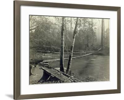 Suspension Bridge, Lake Crescent Road, 1918-Asahel Curtis-Framed Giclee Print
