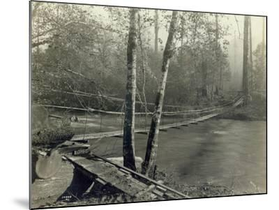 Suspension Bridge, Lake Crescent Road, 1918-Asahel Curtis-Mounted Giclee Print